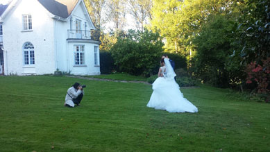 Bride and Groom in the gardens at Abernant