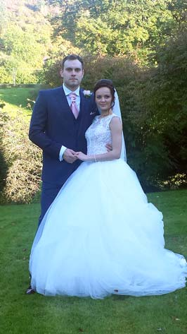 Bride and Groom at their intimate wedding in Abernant House, Wales